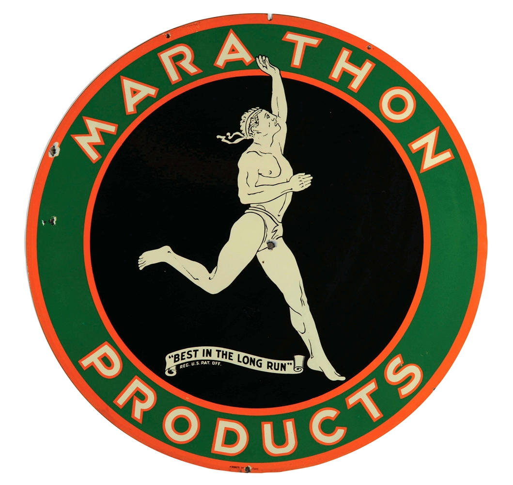 Marathon Products Porcelain Sign with Running Man Graphic.