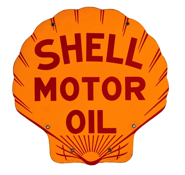 OUTSTANDING SHELL MOTOR OIL DIE-CUT PORCELAIN SIGN.