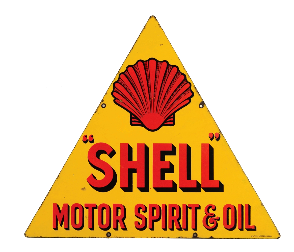Shell Motor Spirit & Oil Porcelain Sign with Clamshell Graphic.