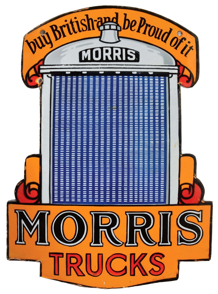 Rare Morris Trucks Die-Cut Porcelain Sign with Radiator Graphic.