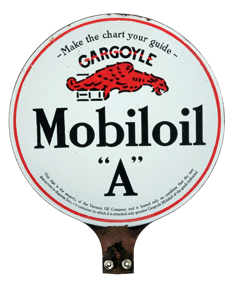 "Mobiloil ""A"" Motor Oil Porcelain Paddle Sign with Gargoyle Graphic."