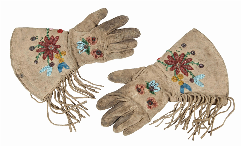 Plains Cree Beaded Gauntlets.