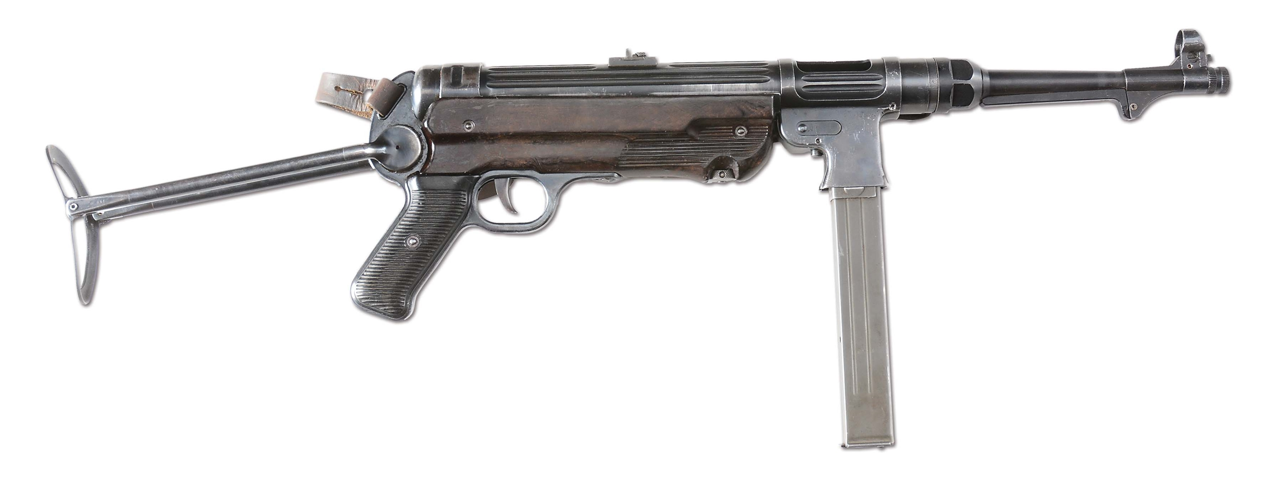 (N) DESIRABLE AND ATTRACTIVE GERMAN MP-38 / MP-40 MACHINE GUN ON INLAND ARMS COMPANY MANUFACTURED REGISTERED MP-38 RECEIVER (FULLY TRANSFERABLE).