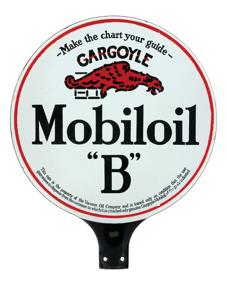 "Mobiloil ""B"" Motor Oil Porcelain Paddle Sign with Gargoyle Graphic."