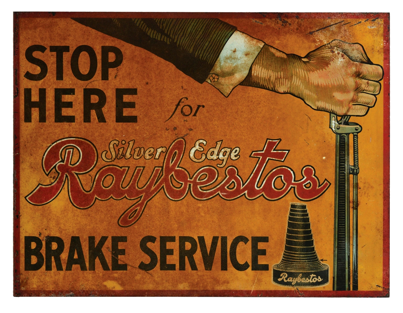 Raybestos Brake Service Tin Flange Sign with Hand Graphic.