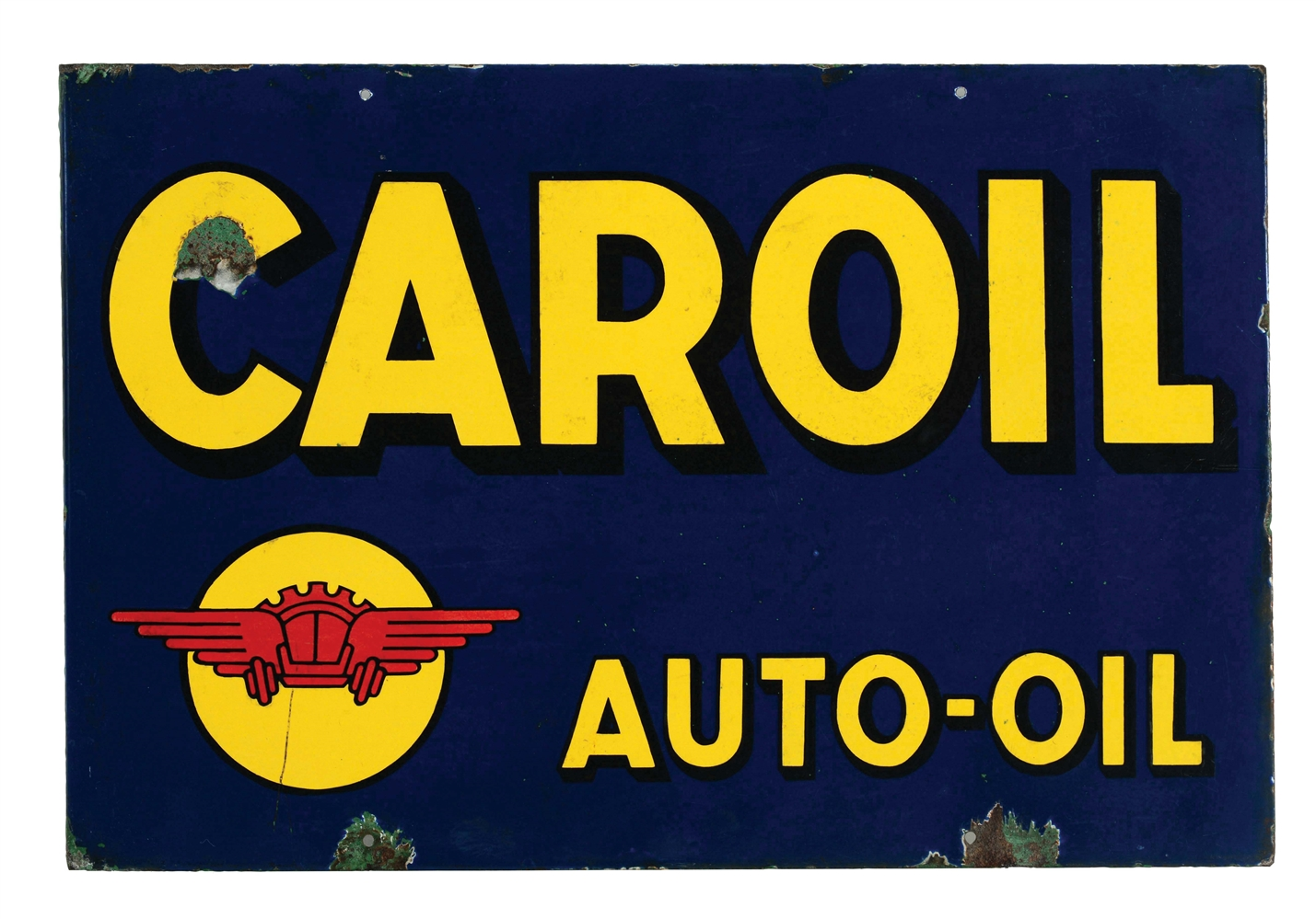 Caroil Auto-Oil Porcelain Flange Sign.