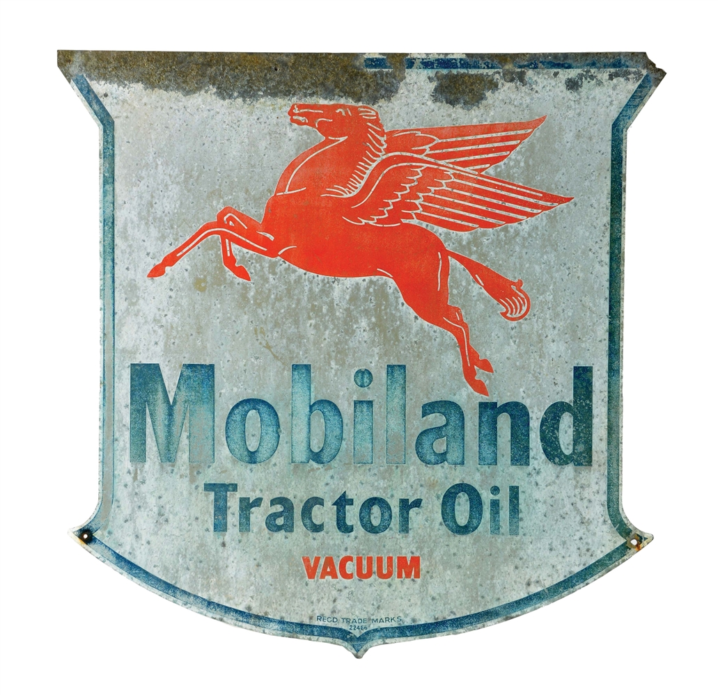 Mobiland Tractor Oil Tin Shield Sign with Pegasus Graphic.