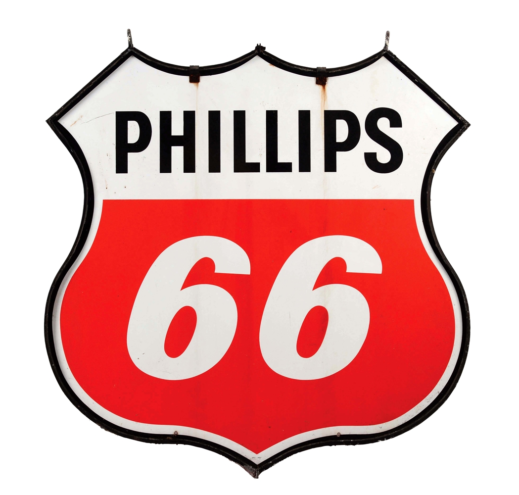 Phillips 66 Gasoline Porcelain Shield Sign with Original Metal Ring.