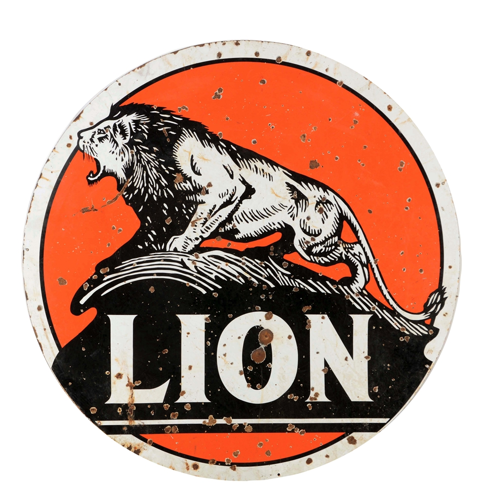 Lion Gasoline Porcelain Sign with Lion Graphic.