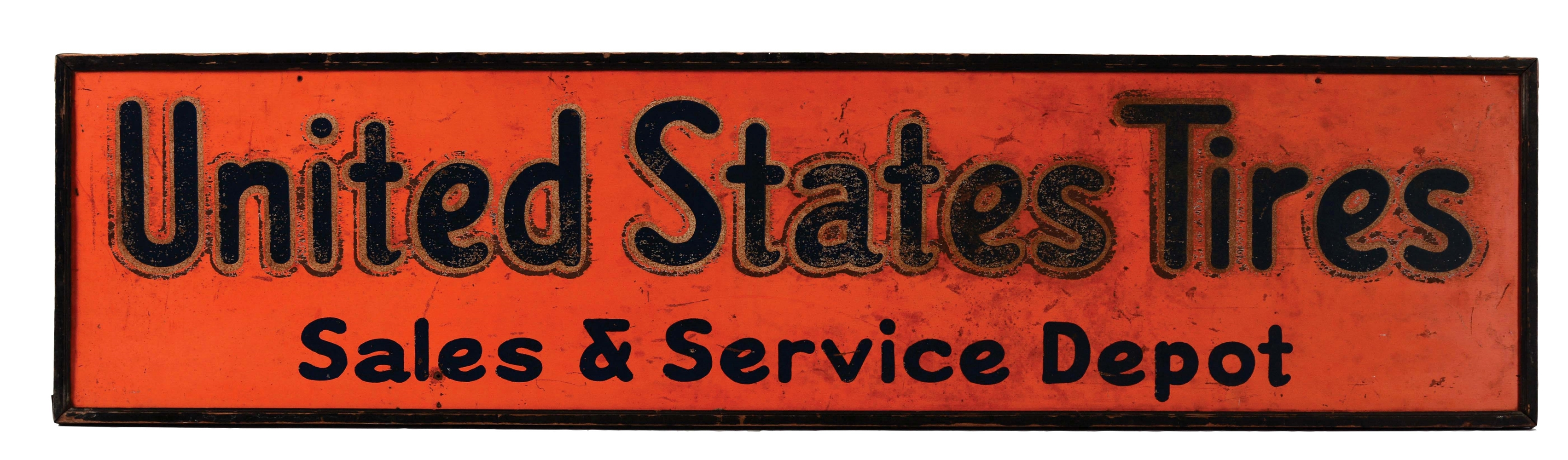 United States Tires Sales & Service Depot Tin Sign with Original Wood Frame.