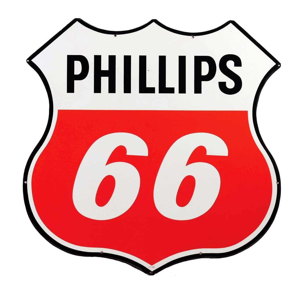 Phillips 66 Gasoline Die-Cut Porcelain Shield Sign.