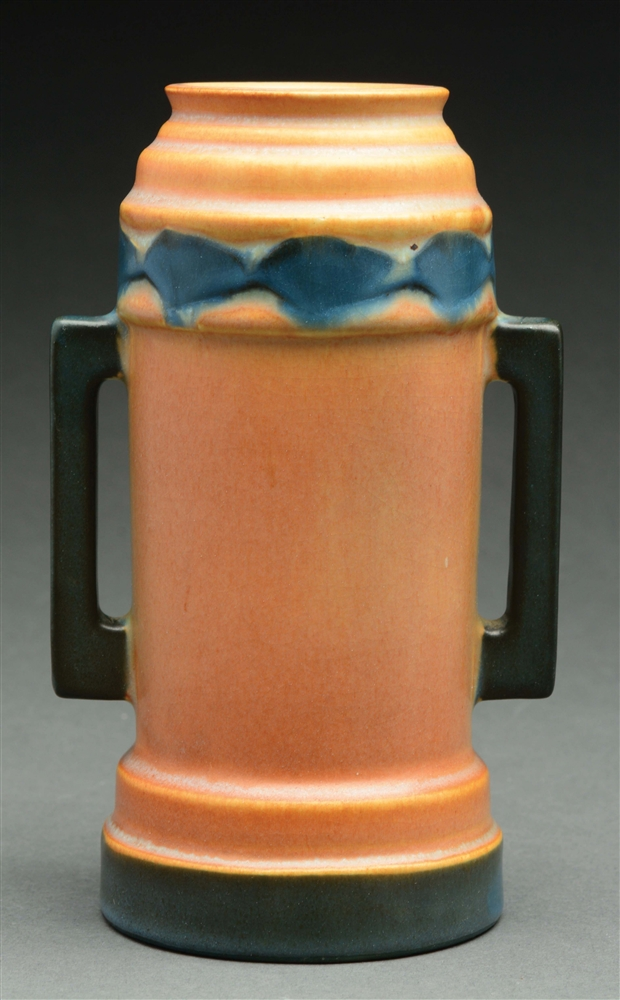 "Roseville Pottery Futura ""Beer Mug"" Vase With Handles."