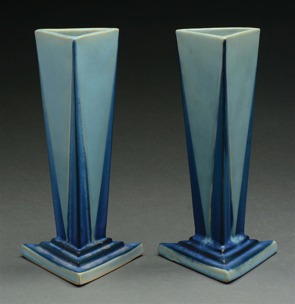 "Lot of 2: Roseville Pottery ""Little Blue Triangle"" Futura Vases."