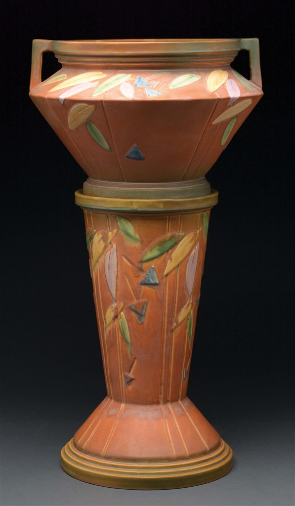 Roseville Pottery Futura Jardiniere and Pedestal.