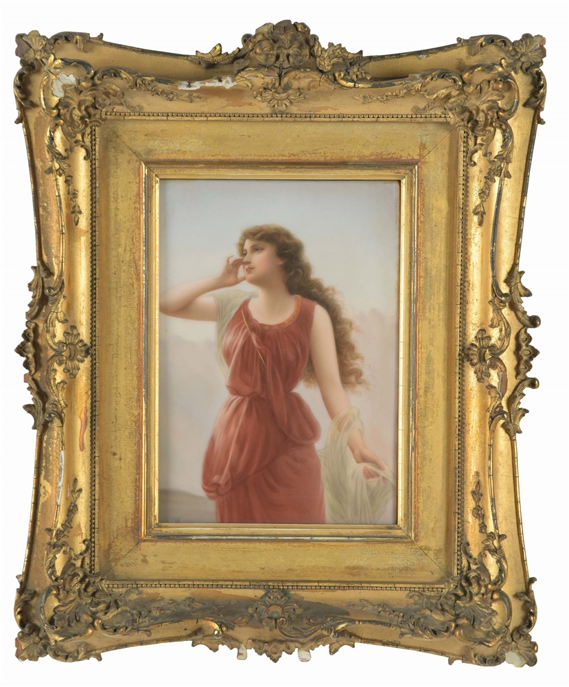 Porcelain Plaque of a Woman in a Red Dress.