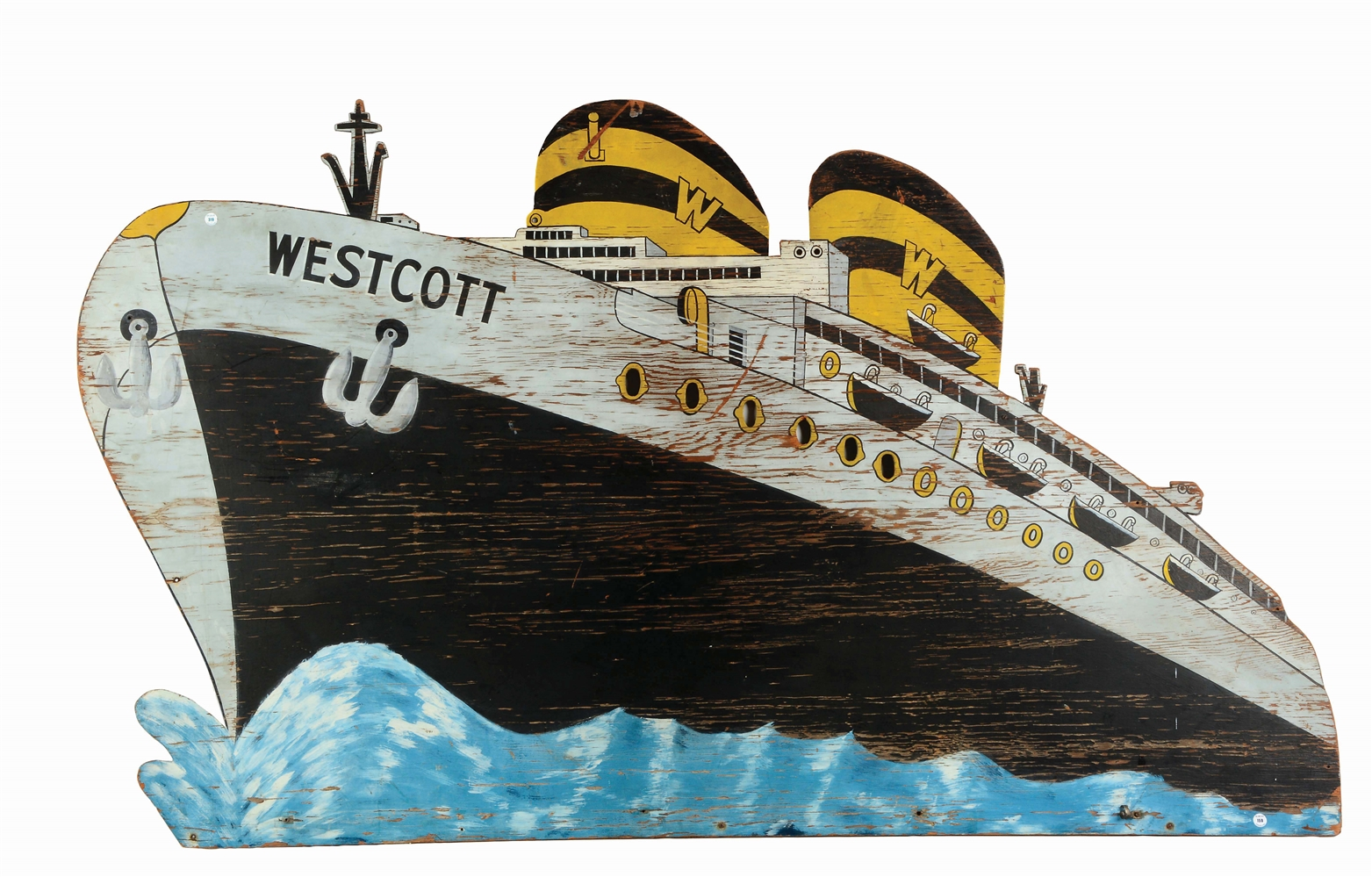 "Paint Decorated Sign of the Ocean Liner ""Wescott""."