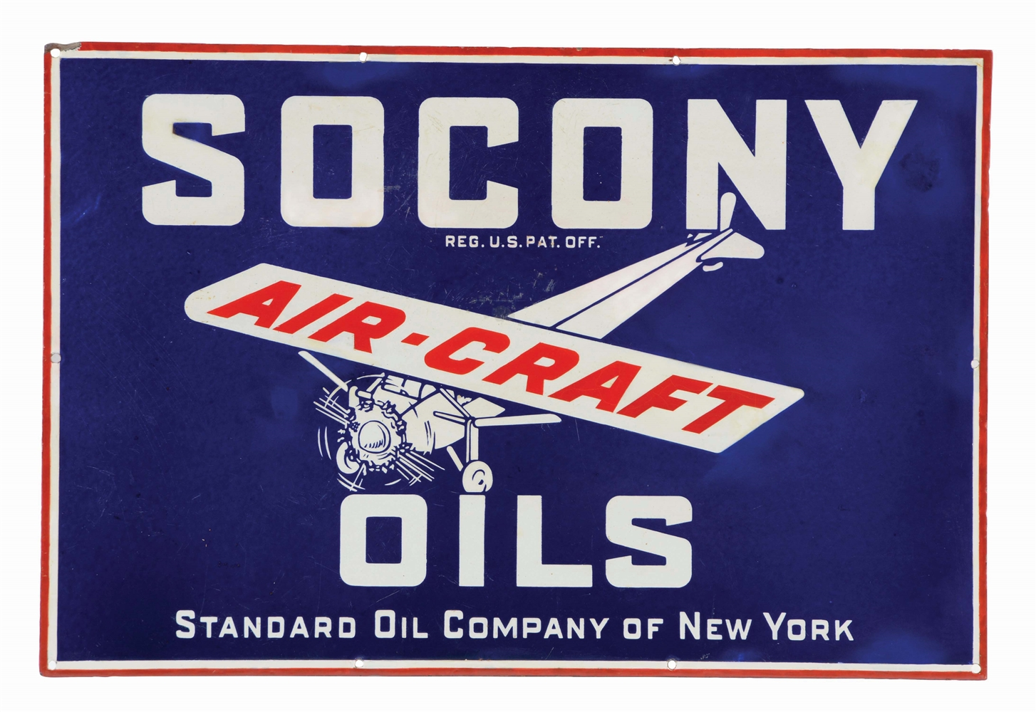 SOCONY AIR-CRAFT MOTOR OILS PORCELAIN SIGN W/ AIRPLANE GRAPHIC.