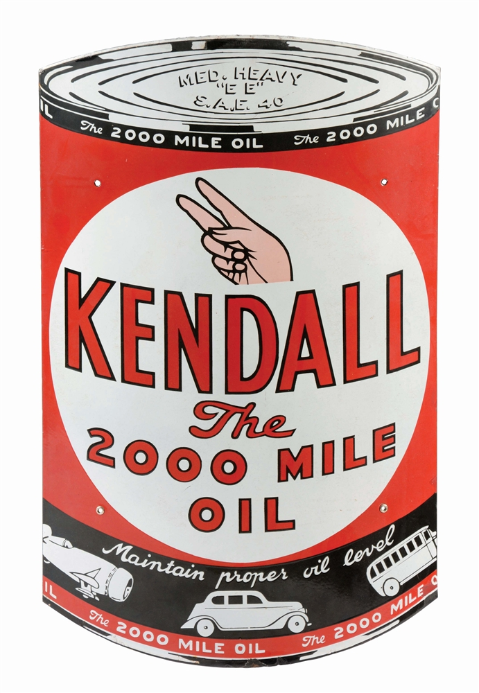 KENDALL MOTOR OIL DIE CUT PORCELAIN CAN SIGN W/ AUTOMOTIVE GRAPHICS.