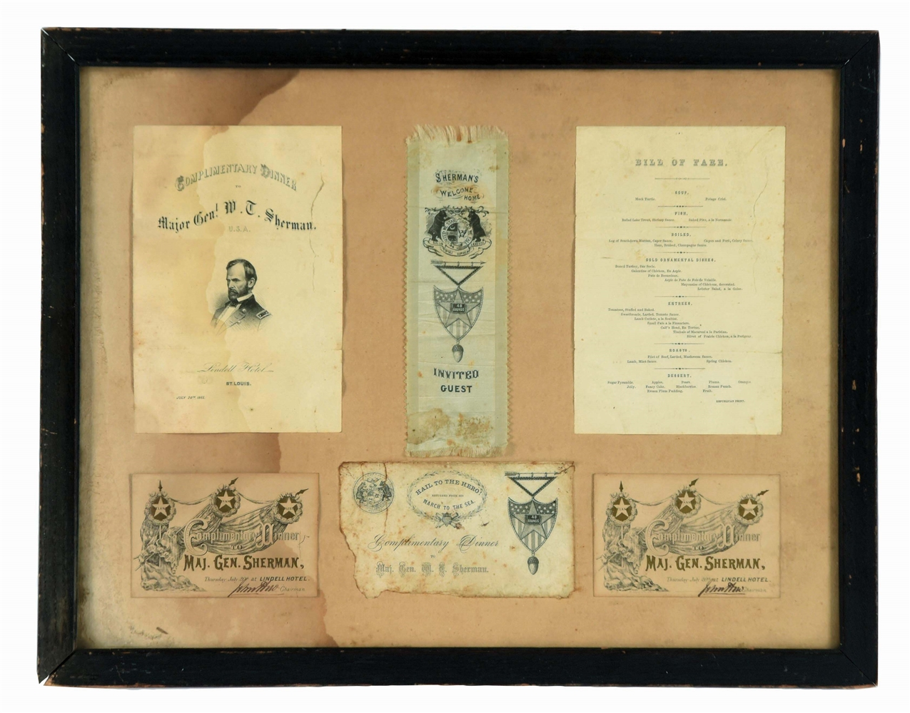 Major General William Tecumseh Sherman Dining Invitation and a Silk Admittance Ribbon.