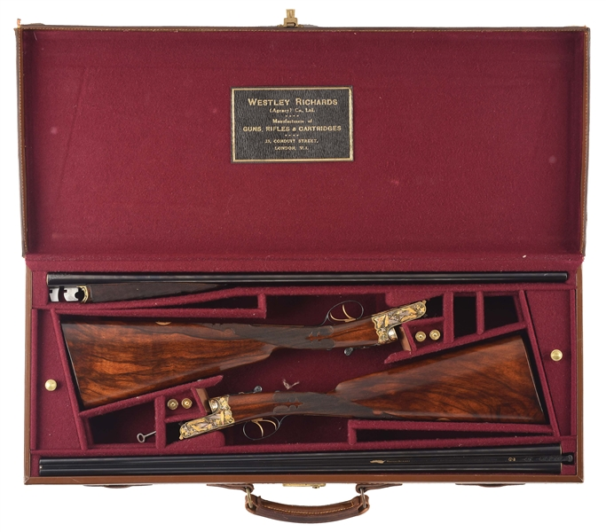 "(C) LOT OF 2: ""THE HUMMINGBIRD GUNS"": INCREDIBLY RARE PAIR OF WESTLEY RICHARDS .410 BEST DROPLOCK SHOTGUNS WITH SUPERB MULTI-COLORED GOLD INLAY IN HUMMINGBIRD DESIGN WITH CASE."