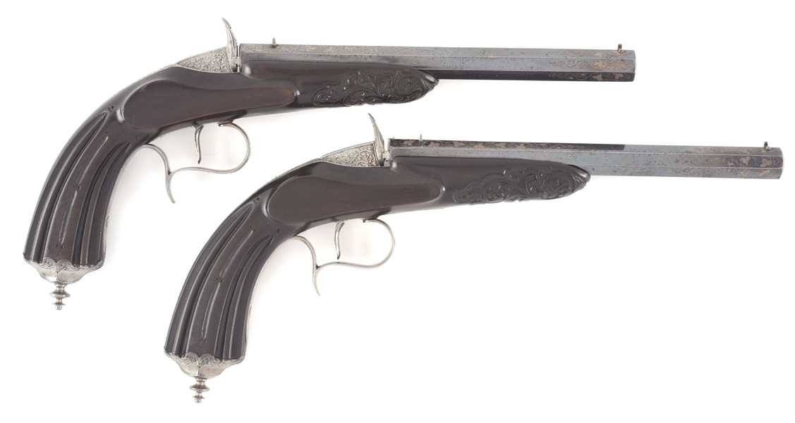 Lot Detail - (A) FINE PAIR OF EXHIBITION QUALITY FLOBERT PISTOLS BY