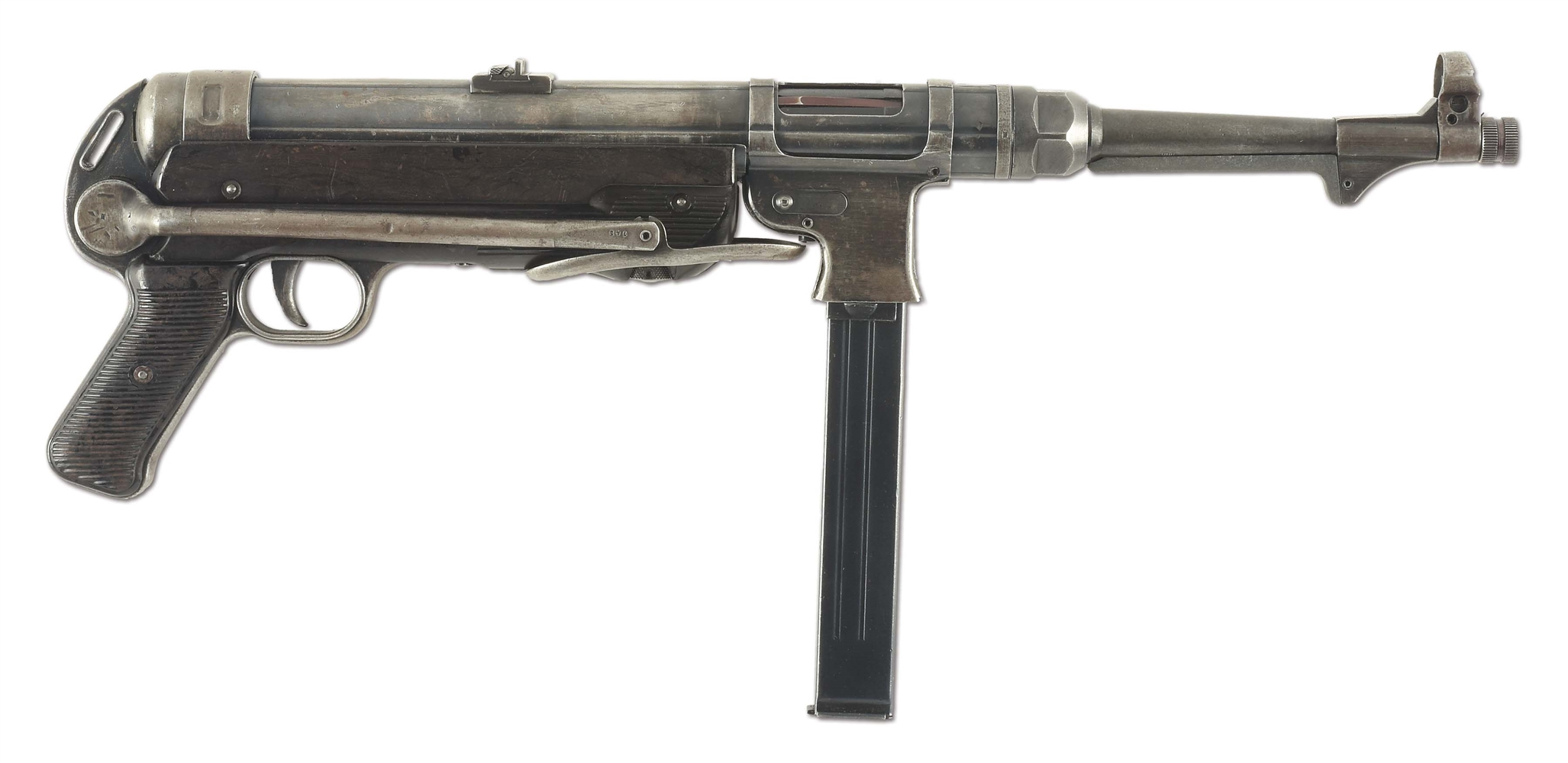 (N) ICONIC ORIGINAL TRANSITIONAL FLAT MAG HOUSING GERMAN MP-40 MACHINE GUN (CURIO AND RELIC).