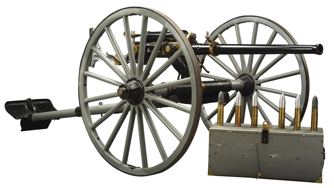 ABSOLUTELY FANTASTIC CONDITION 1897 DRIGGS MANUFACTURED UNITED STATES NAVY MARK IX 1 POUNDER CANNON ON ORIGINAL MATCHING CARRIAGE.