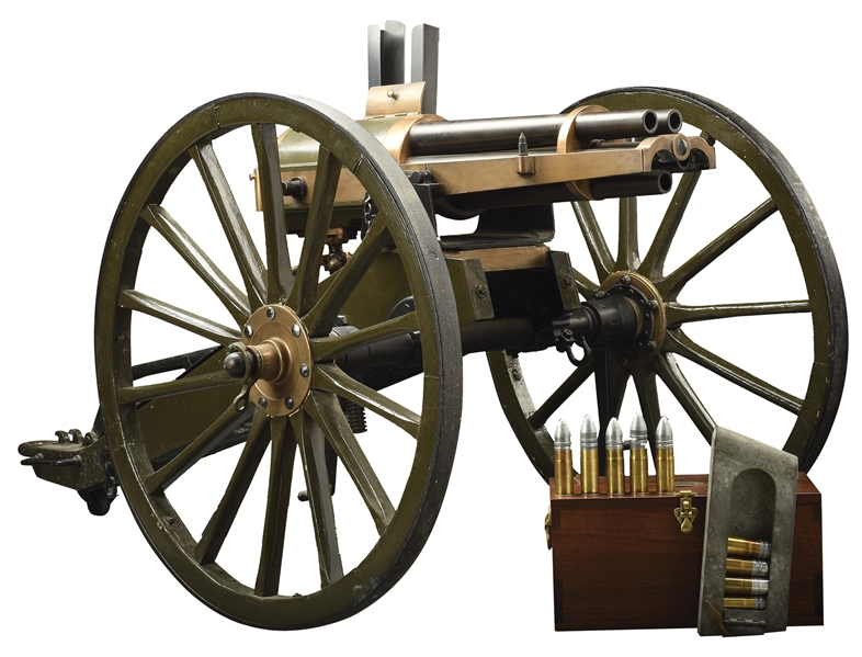 HISTORIC SPANISH AMERICAN WAR USED FRENCH HOTCHKISS 37MM REVOLVING CANNON WITH PROVENANCE ON CARRIAGE WITH ACCESSORIES.