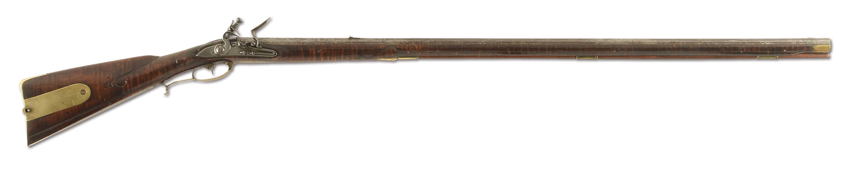 (A) EARLY AND FINE MORAVIAN FLINTLOCK RIFLE ATTRIBUTED TO ANDREAS ALBRECHT.