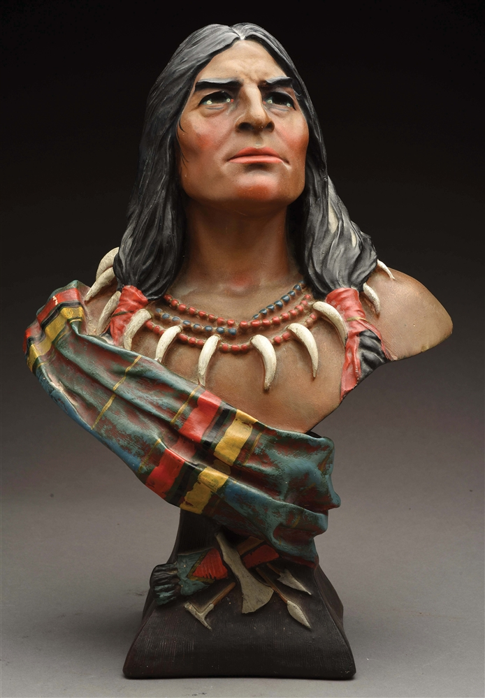 CIGAR STORE CHALKWARE BUST OF NATIVE AMERICAN WITH BEAR CLAW NECKLACE.
