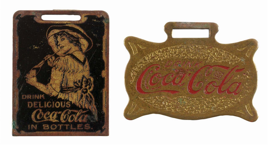 LOT OF 2: BRASS COCA-COLA ADVERTISING WATCH FOBS.