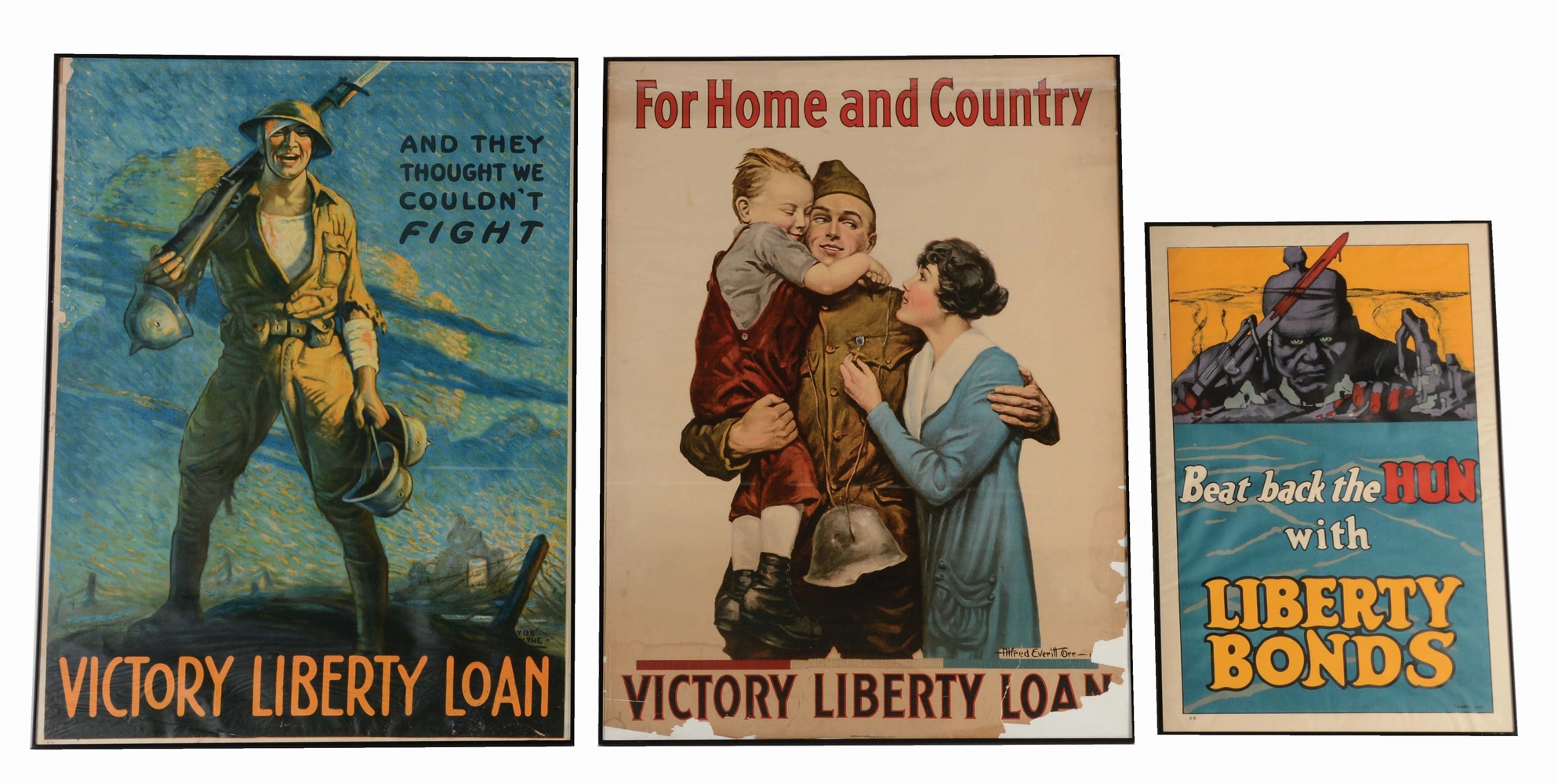 LOT OF 3: WORLD WAR I ERA LIBERTY LOANS/BONDS POSTERS.
