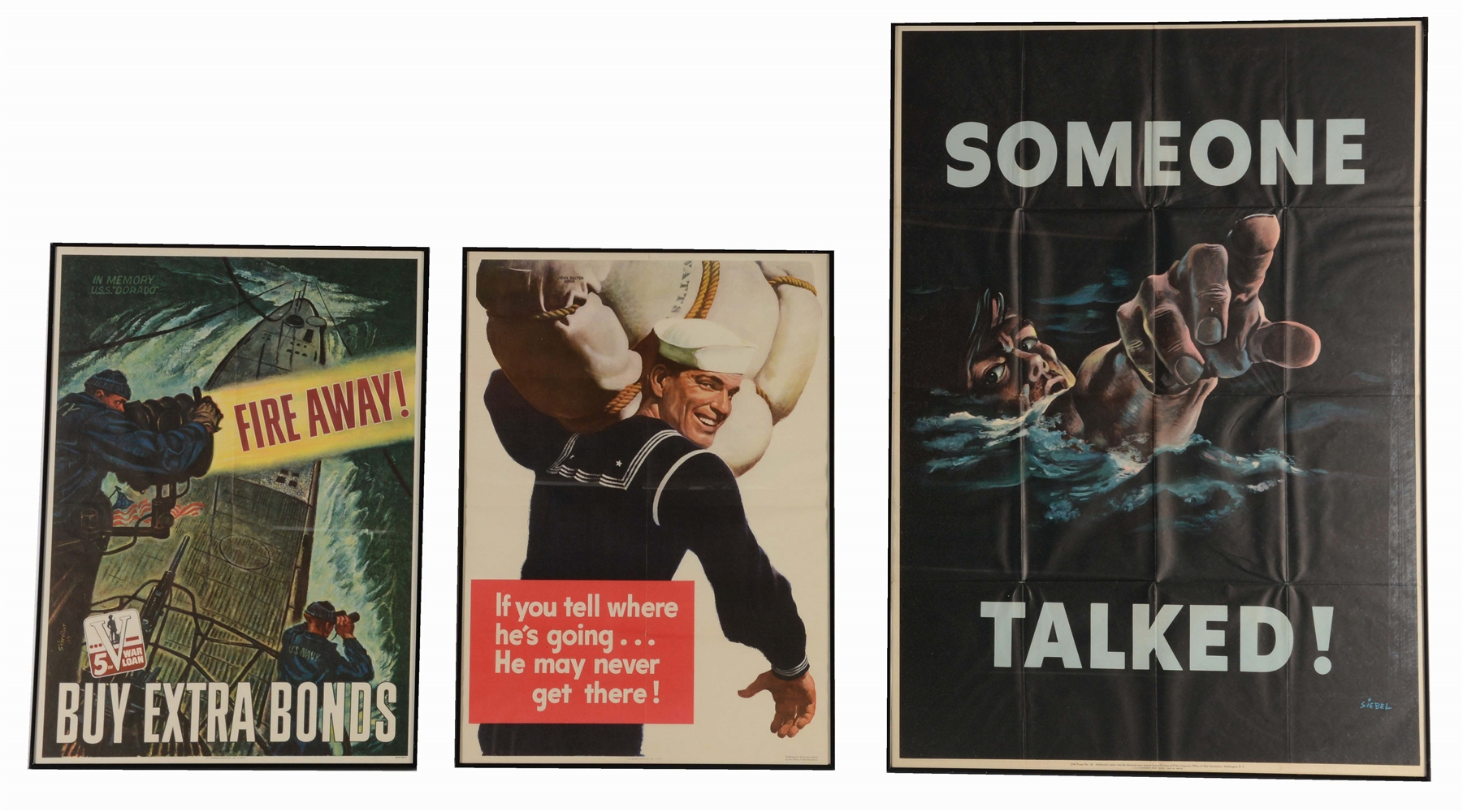 LOT OF 3: WORLD WAR II NAVY RELATED POSTERS.