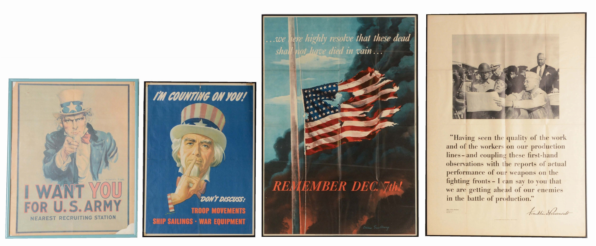 LOT OF 4: UNCLE SAM, PEARL HARBOR, F.D.R. POSTERS.
