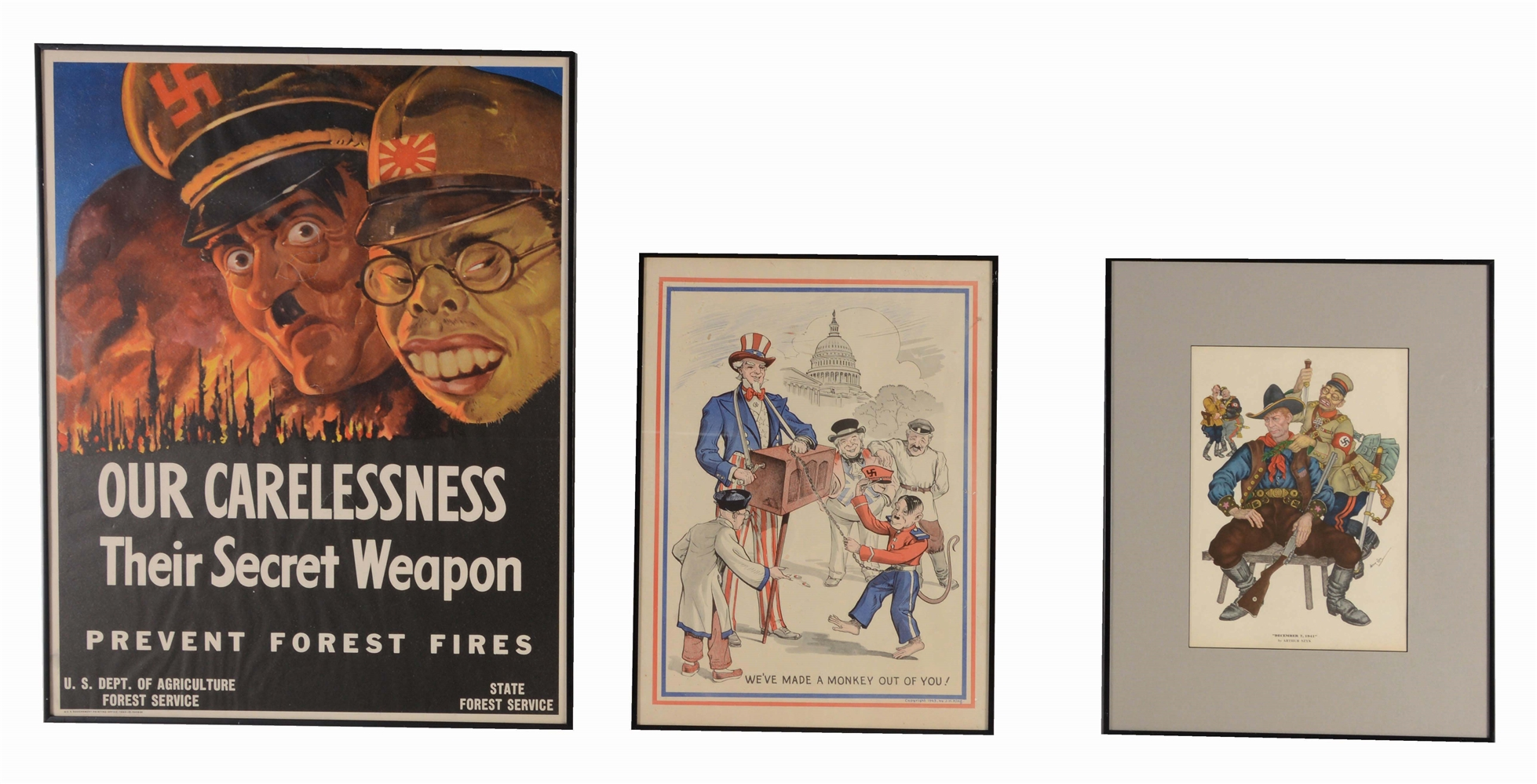 LOT OF 3: WORLD WAR II POSTERS FEATURING HITLER, MUSSOLINI, HIROHITO.