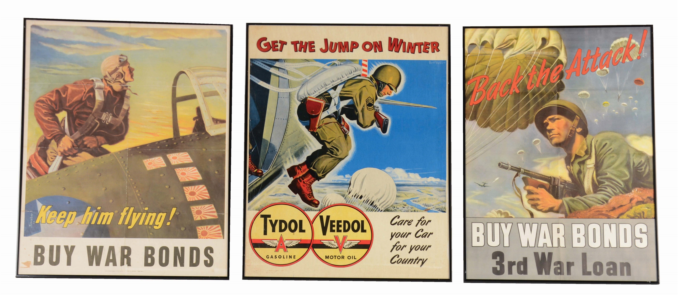 LOT OF 3: WORLD WAR II AVIATION THEMED POSTERS.
