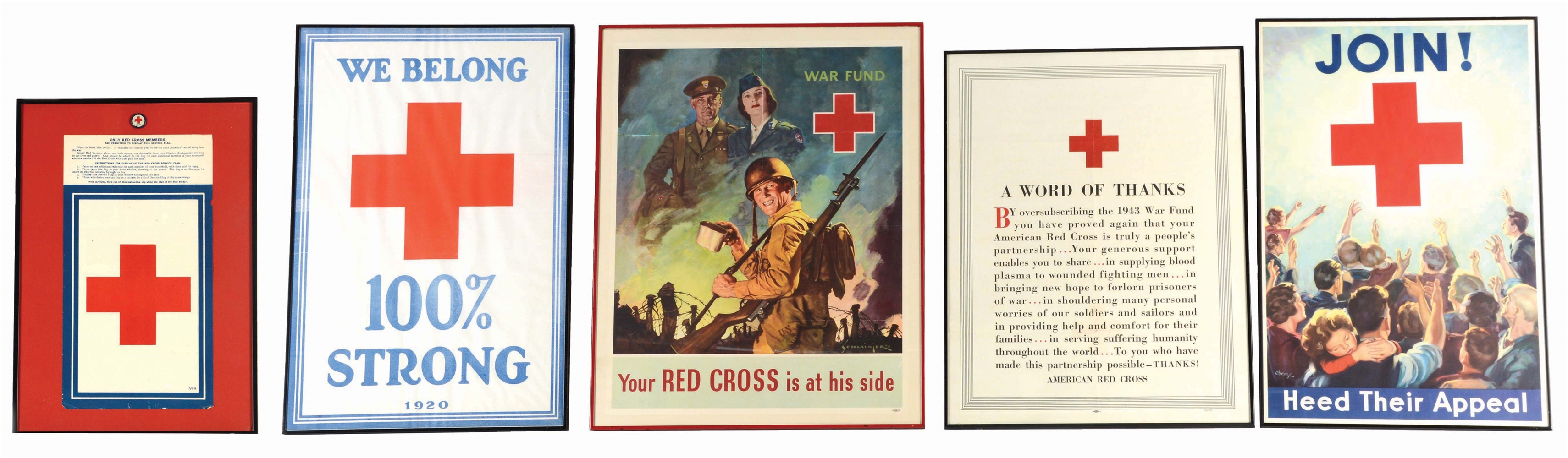 LOT OF 5: WORLD WAR I AND WORLD WAR II RED CROSS POSTERS.
