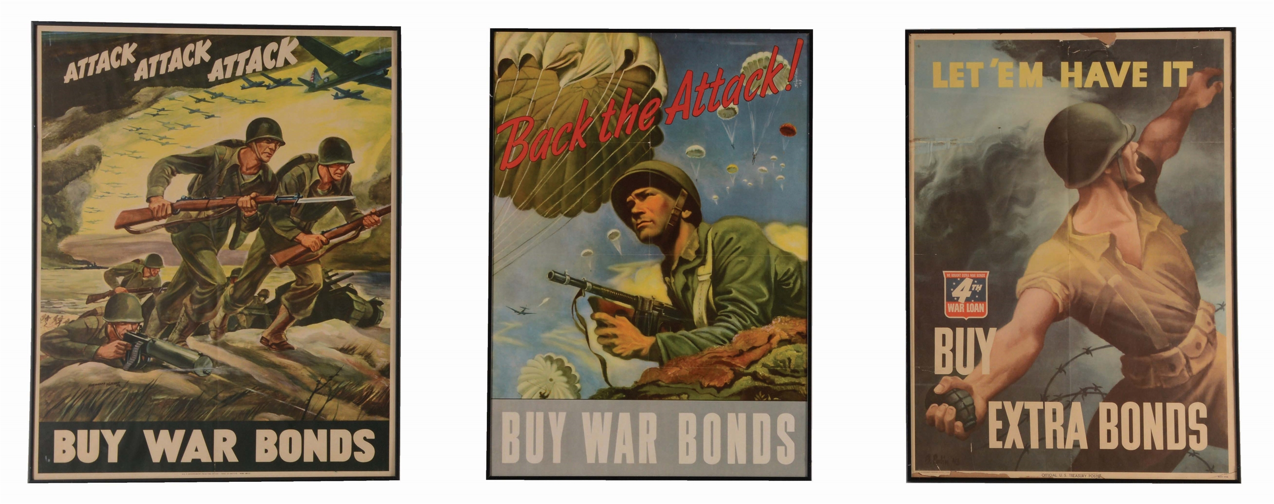 LOT OF 3: GRAPHIC COMBAT WORLD WAR II POSTERS.