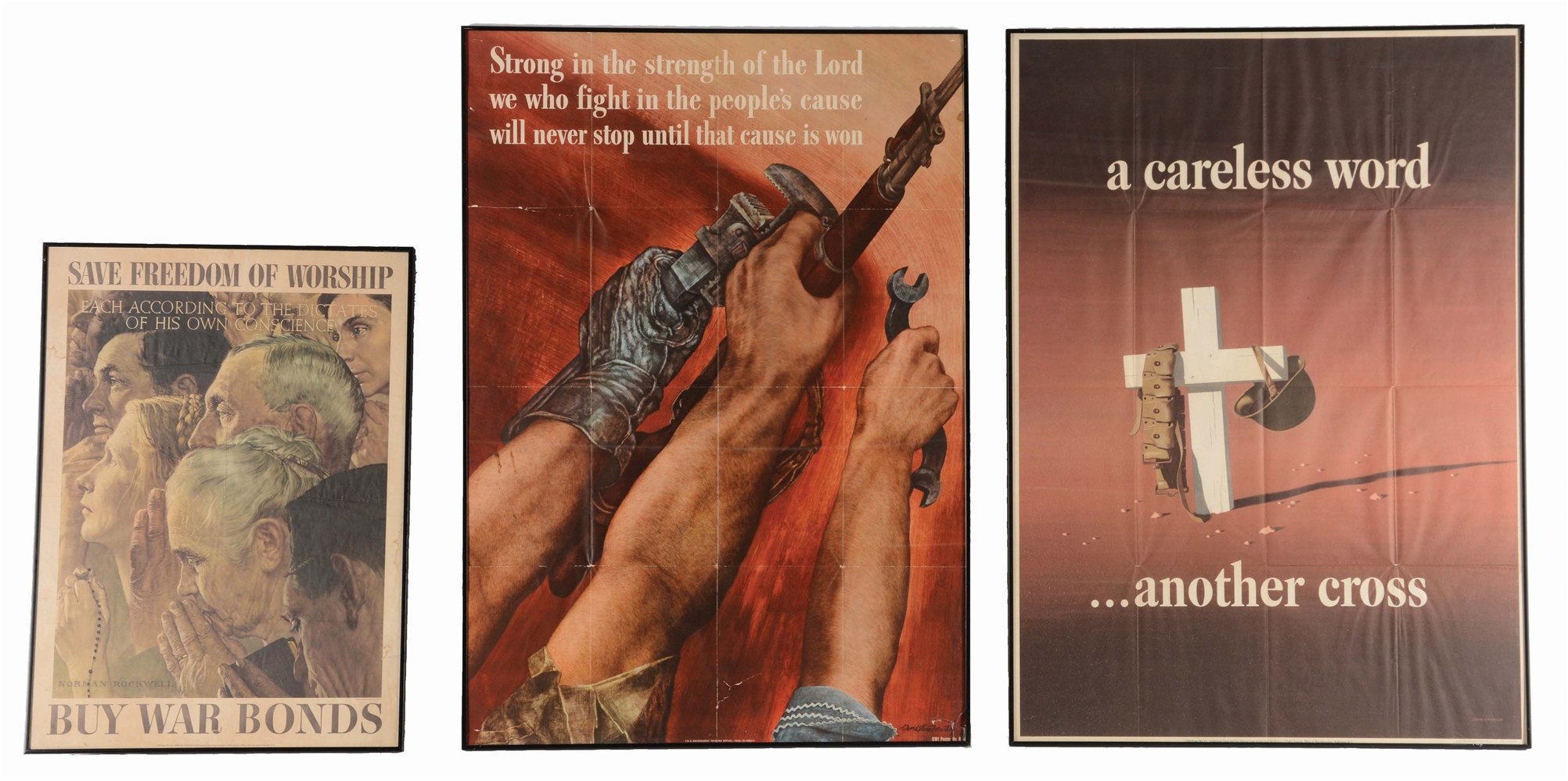 Lot of 3: Religious Themed WWII Posters (Norman Rockwell).