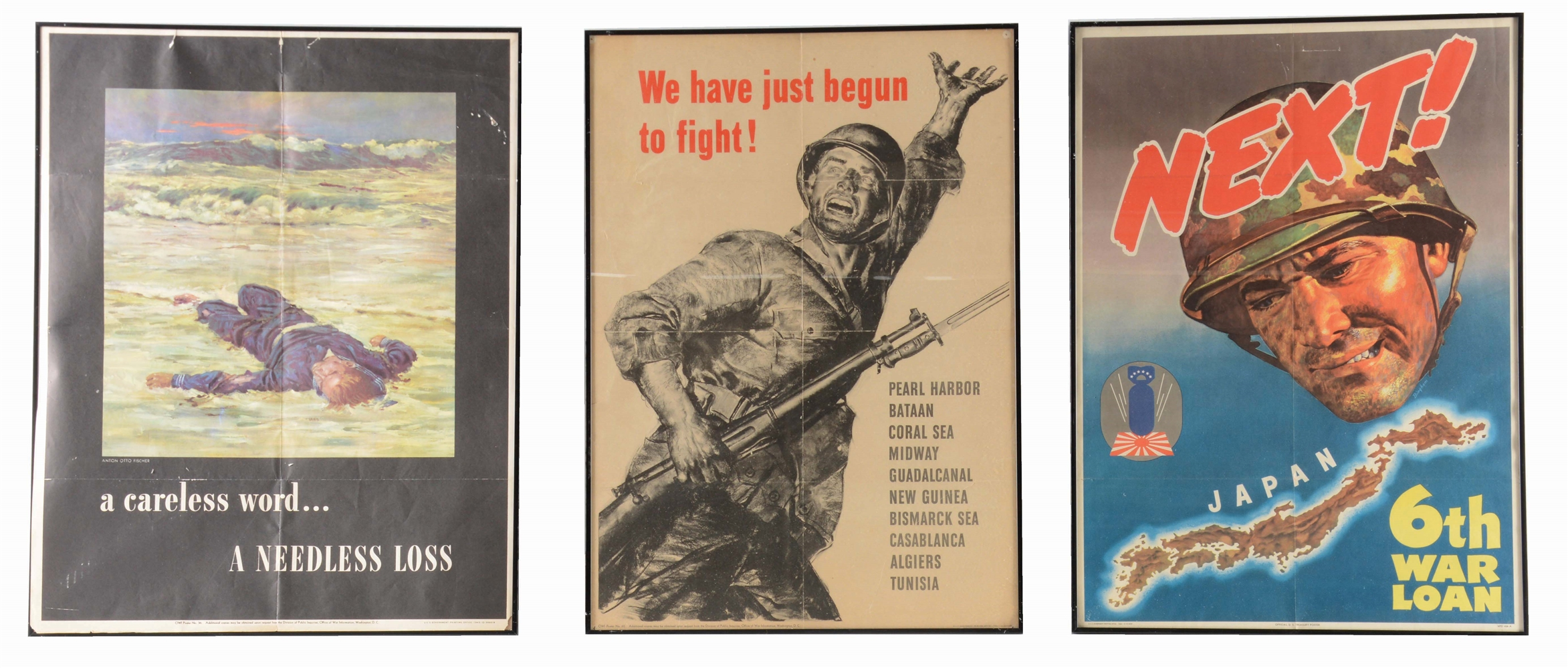 LOT OF 3: WORLD WAR II PACIFIC THEATER POSTERS.