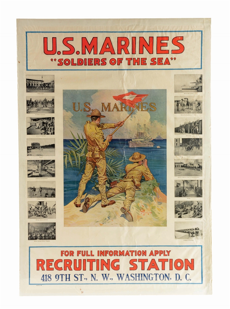 INCREDIBLY RARE U.S. MARINES FULL COLOR LARGE FORMAT RECRUITING POSTER, CIRCA 1913.