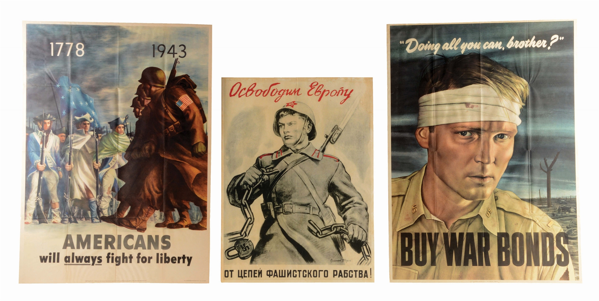LOT OF 3: MID-WORLD WAR II POSTERS.