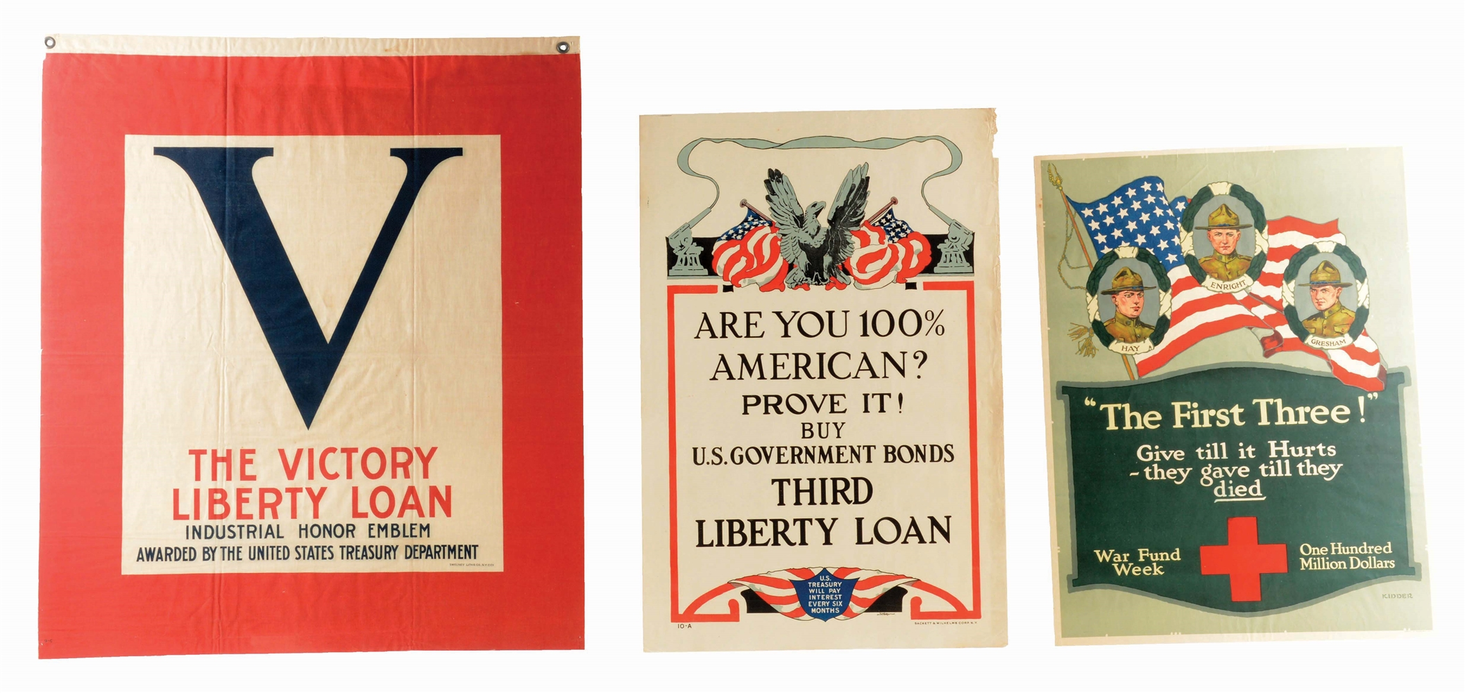 LOT OF 3: WORLD WAR I POSTERS/BANNER.