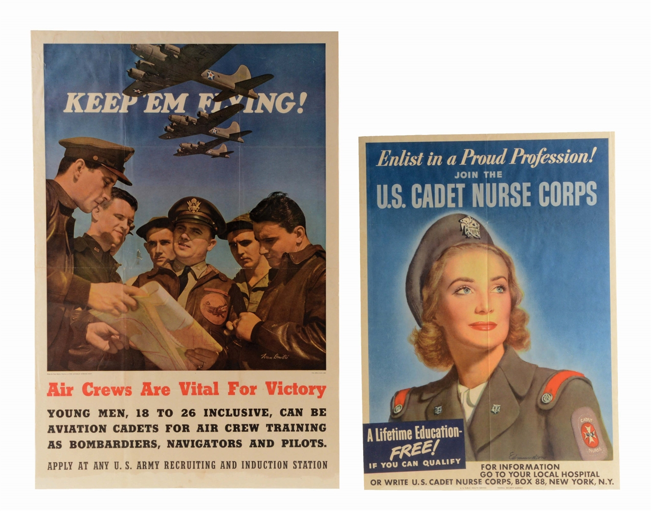 LOT OF 2: WORLD WAR II RECRUITING POSTERS.