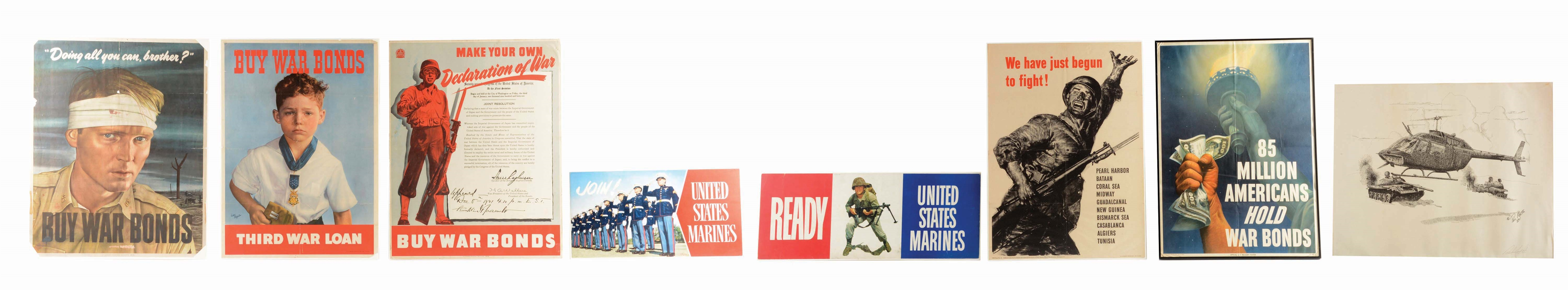 LOT OF 8: WAR POSTERS.