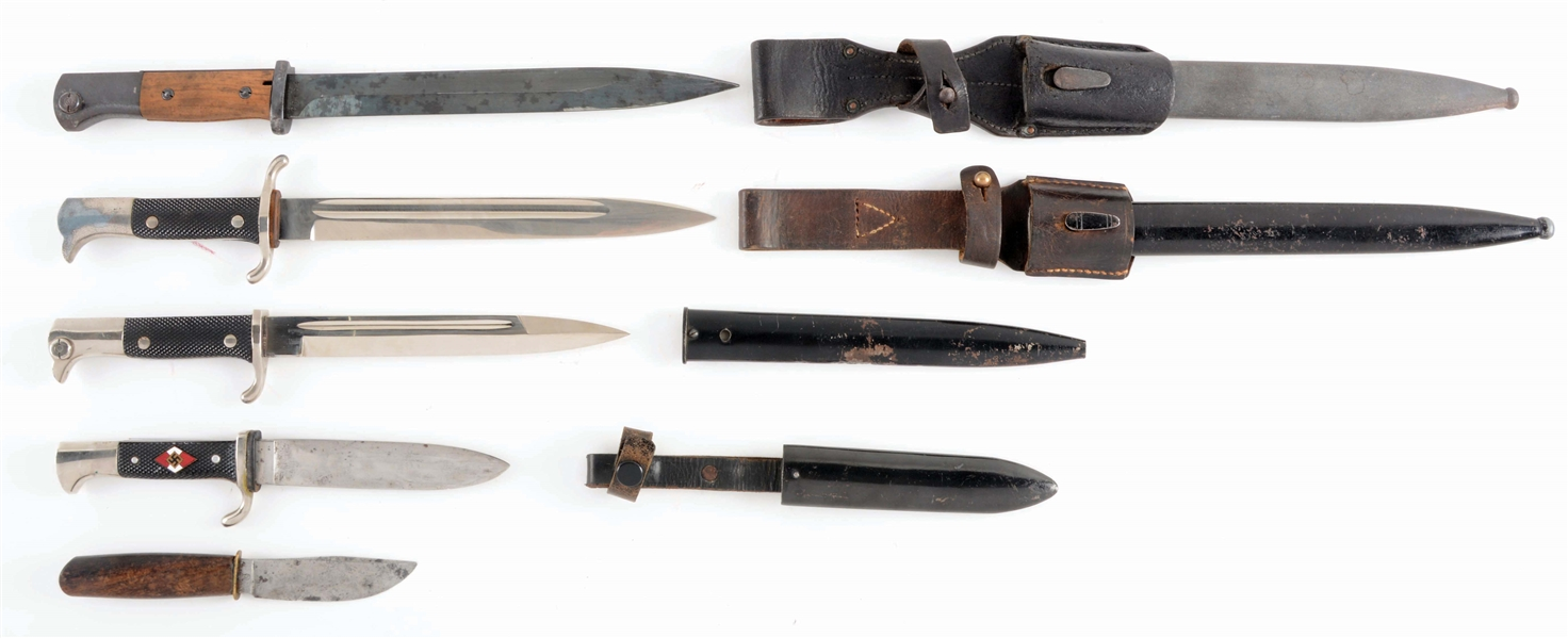 LOT OF 5: THIRD REICH BAYONETS AND KNIVES.