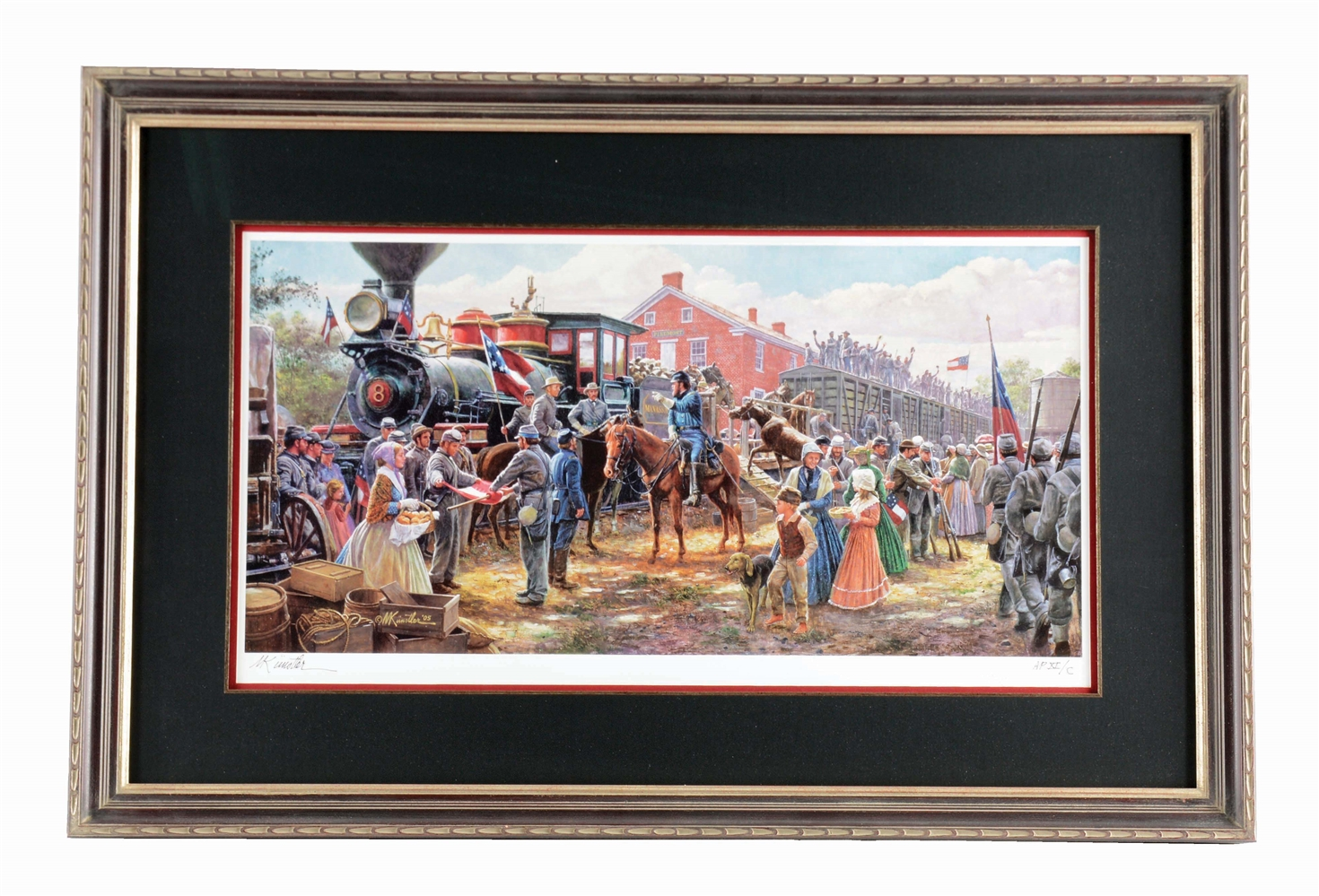 "ARTIST PROOF MORT KUNSTLER ""VICTORY RODE THE RAILS"" MUSEUM QUALITY FRAMED PRINT."