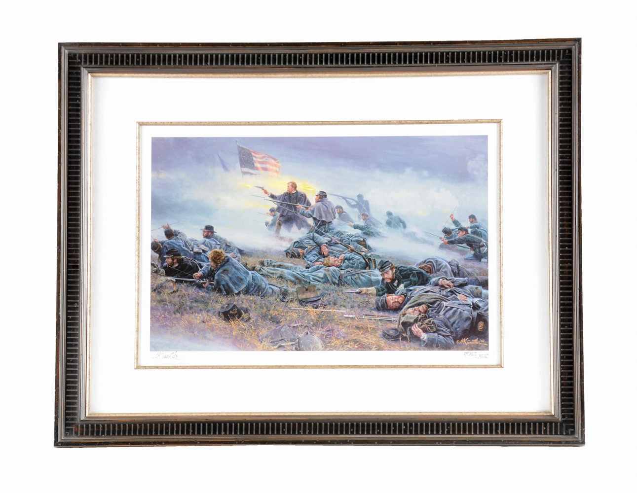 "ARTIST PROOF MUSEUM QUALITY FRAMED MORT KUNSTLER ""COURAGE IN BLUE"" CIVIL WAR PRINT."