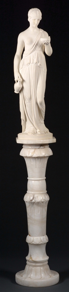 Large Marble Statue of Woman with Bowl & Pitcher.