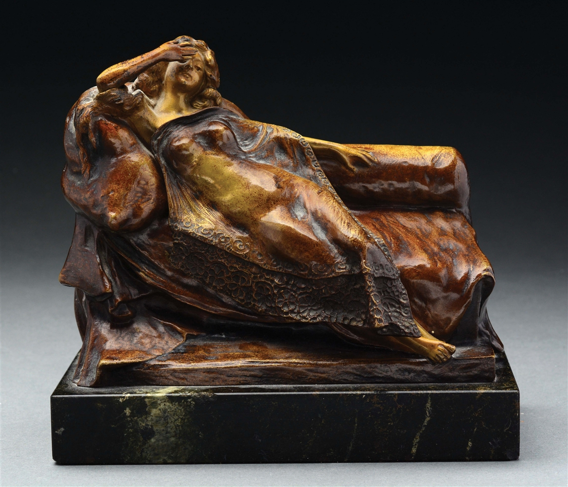 Erotica Bronze Woman on Sofa with Removable Blanket.